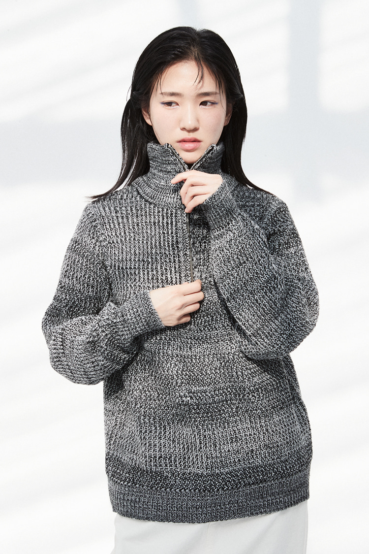 NOI303 mix knit zip up (black)