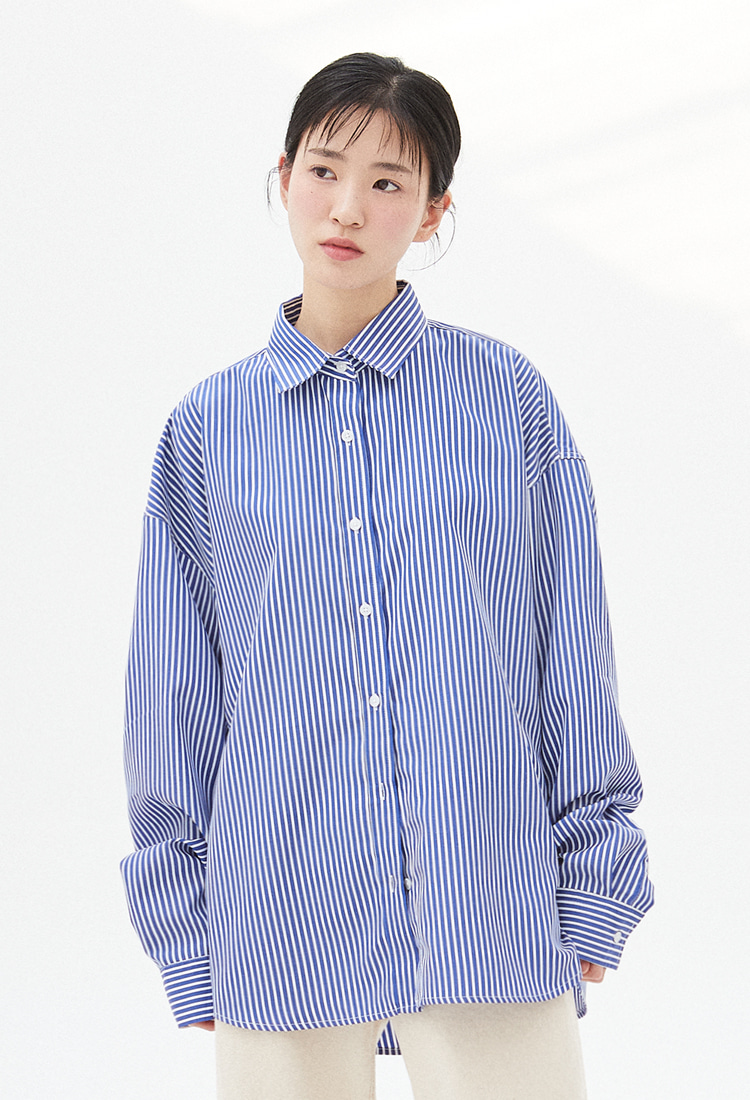 NOI324 overfit stripe shirts (blue)