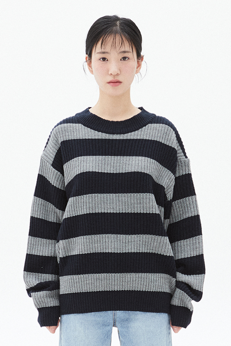 NOI294 stripe crew neck knit (gray)